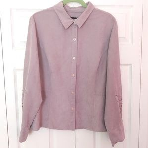 Norton McNaughton Suede Like Button Down Blouse